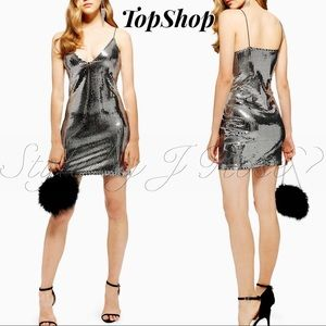 NWT's Top Silver Foiled Sequin Mini Dress